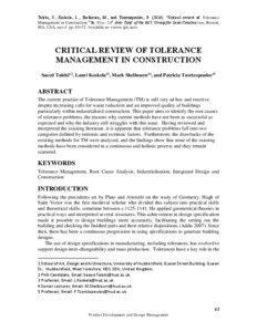 critical review of tolerance management in construction university